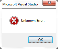 Visual Studio 2010 Unknown Error